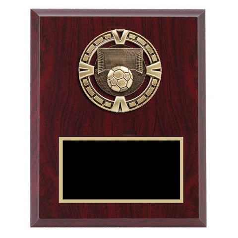 "Soccer Plaque - Varsity Medal mounted on Laminate Plaque 5"" x 7"" (A2994) - Quest Awards"