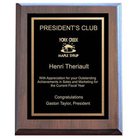 Plaque - Economy - Black Plate/Gold Engraving - Various Sizes and Laminated Finishes - Quest Awards