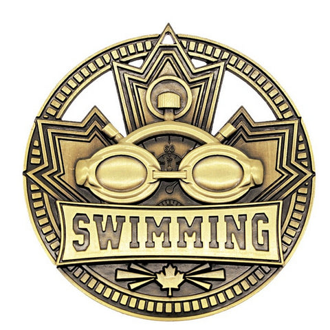 "Swimming Medallion Patriot Sport 2 3/4"" Diameter - Gold (A3759)"