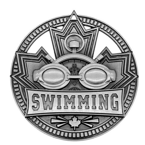 "Swimming Medallion Patriot Sport 2 3/4"" Diameter - Silver (A3760)"