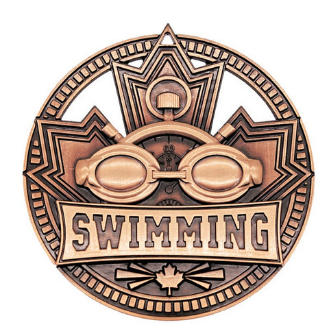 "Swimming Medallion Patriot Sport 2 3/4"" Diameter - Bronze (A3761)"