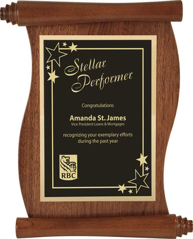 Walnut Plaque - Scroll - Quest Awards