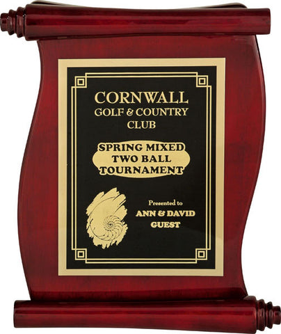 Piano Finish Plaques - Rosewood Scroll with Plate - Quest Awards
