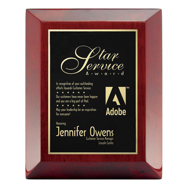 Piano Finish Plaques - Rosewood Wide Bevel with Plate (A2902) - Quest Awards
