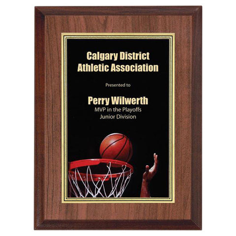"Basketball Plaque - Full Colour Activity 6"" x 8"" - Quest Awards"