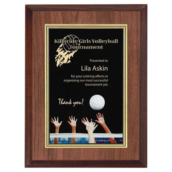 "Volleyball Plaque - Full Colour Activity 6"" x 8"" - Quest Awards"