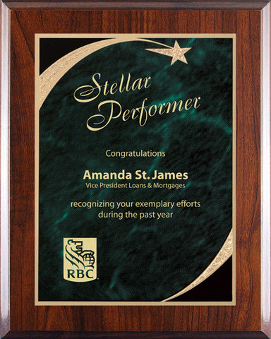 Plaques - Executive Shooting Star - Green Marble - Quest Awards - 1