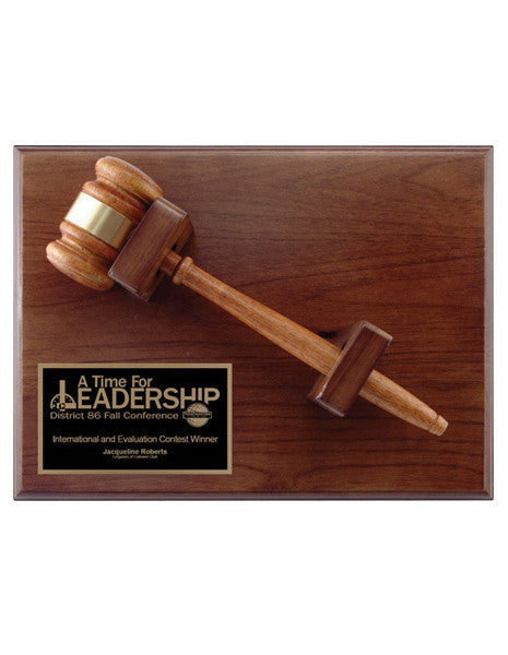 Gavel - Walnut Plaque (A2486) - Quest Awards