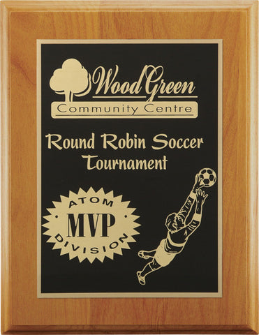 Plaque - Red Alder Wood - Square Edge with plate - Quest Awards