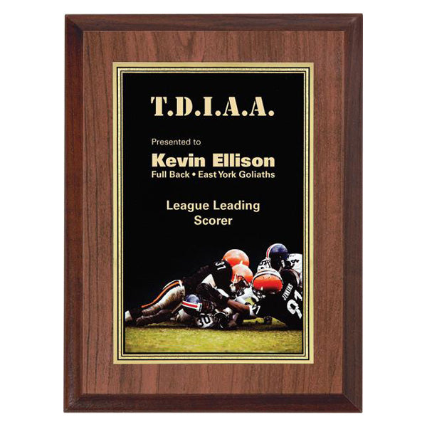 "Football Plaque - Full Colour Activity 6"" x 8"" (A2433) - Quest Awards"