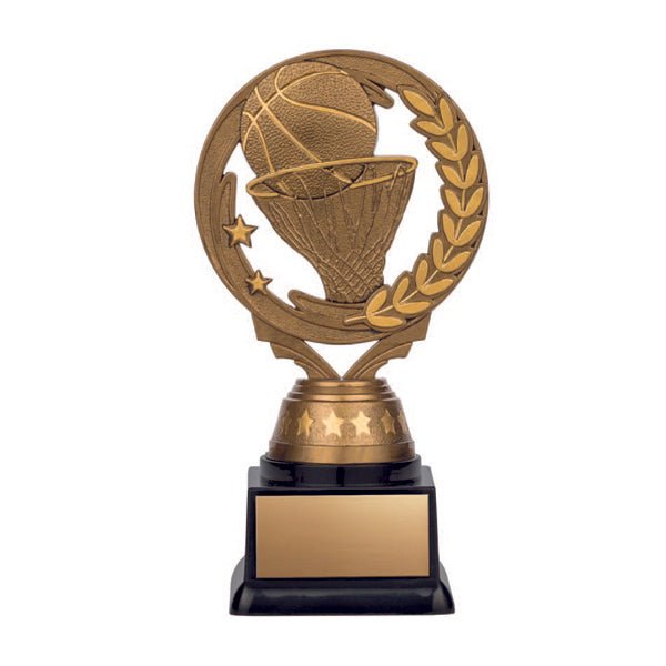 Basketball Trophy - Nexus Series - Antique Gold, Black Base - 3 Sizes (A3230) - Quest Awards