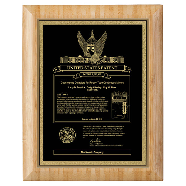 USA Patent Plaque - Bamboo Round Edge (A3153) - Quest Awards