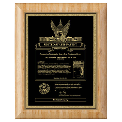 USA Patent Plaque - Bamboo Round Edge (A3153)