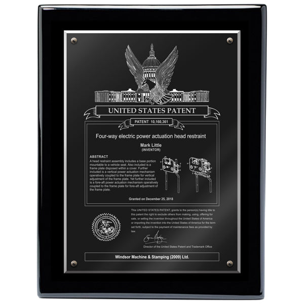 USA  Patent Plaque - Acrylic Black Piano (A3151) - Quest Awards
