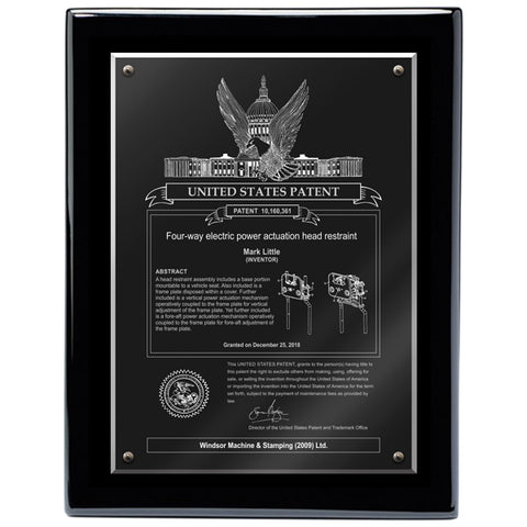 USA  Patent Plaque - Acrylic Black Piano (A3151)