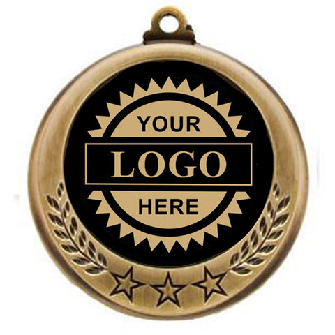 "Logo Insert Medal - GOLD Three Star - Gold Engraving - 2 3/4"" Diameter (A2798) - Quest Awards"
