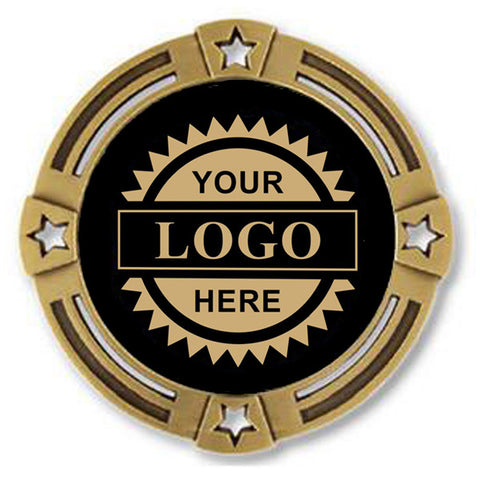 "Logo Insert Medal - GOLD Four Star - Gold Engraving - 2 3/4"" Diameter (A2796) - Quest Awards"