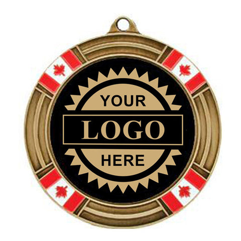 "Logo Insert Medal - GOLD Canada Flag - Gold Engraving - 2 5/8"" Diameter (A2794) - Quest Awards"