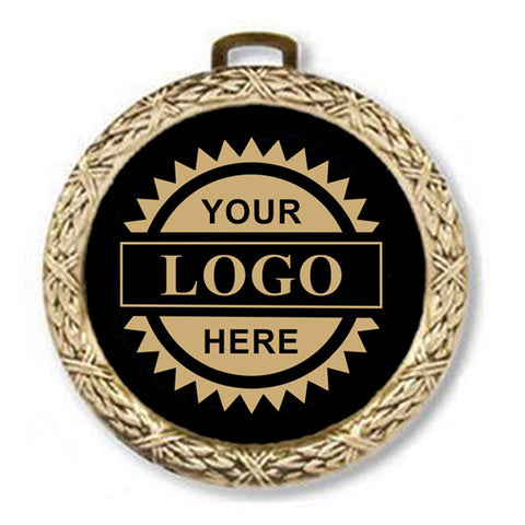 "Logo Insert Medal - GOLD Weave - Gold Engraving - 2 1/2"" Diameter (A2800) - Quest Awards"