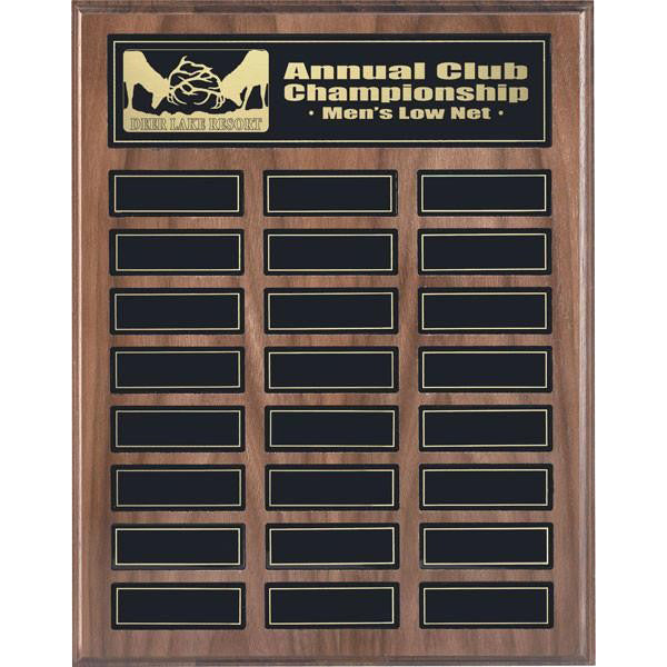 Annual Plaque - Magnetic Plaque - Walnut - 24 Plates - Quest Awards