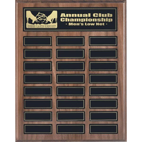 Annual Plaque - Magnetic Plaque - Walnut - 24 Plates (A2138) - Quest Awards