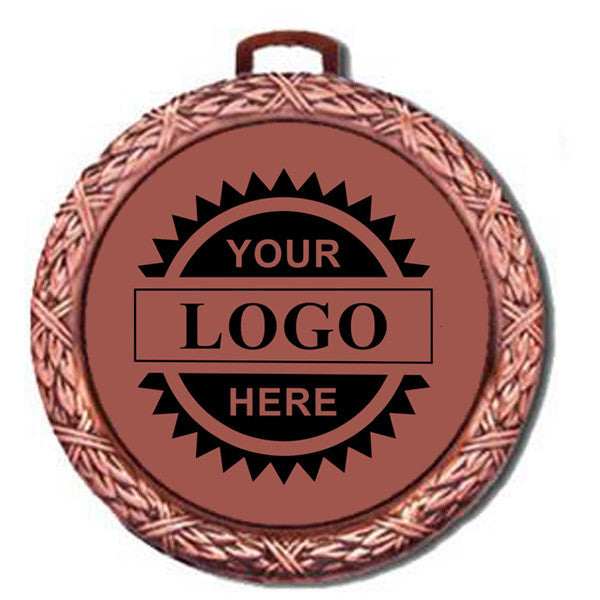 "Logo Insert Medal - BRONZE Weave - 2 1/2"" Diameter (A2790) - Quest Awards"