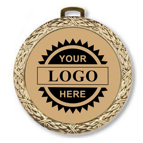 "Logo Insert Medal - GOLD Weave - Black Engraving - 2 1/2"" Diameter (A2799) - Quest Awards"