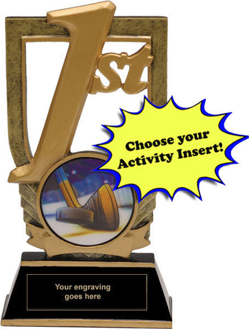 "Trophy - 1st Place Trophy with 2"" Activity Insert (A3137) - Quest Awards"