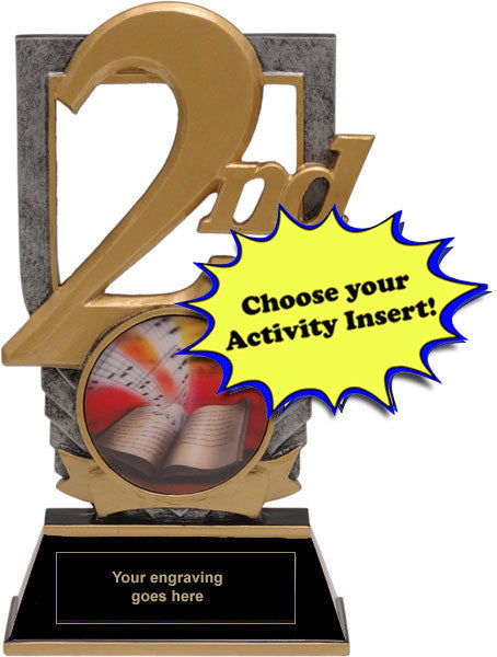 "Trophy - 2nd Place Trophy with 2"" Activity Insert (A3138) - Quest Awards"