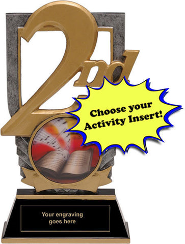 "Trophy - 2nd Place Trophy with 2"" Activity Insert - Quest Awards - 1"