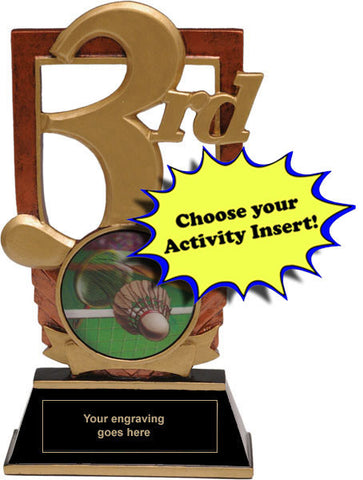 "Trophy - 3rd Place Trophy with 2"" Activity Insert (A3139) - Quest Awards"