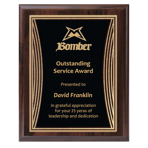Plaque - Tribute Series Black Plate with Gold Engraving (A2922) - Quest Awards