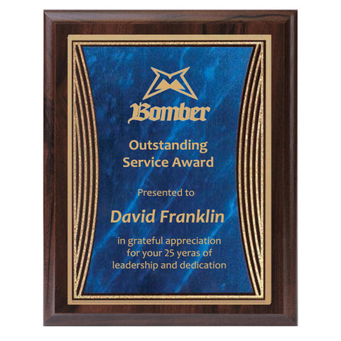 Plaque - Tribute Series Blue Marble Plate with Gold Engraving (A2923) - Quest Awards