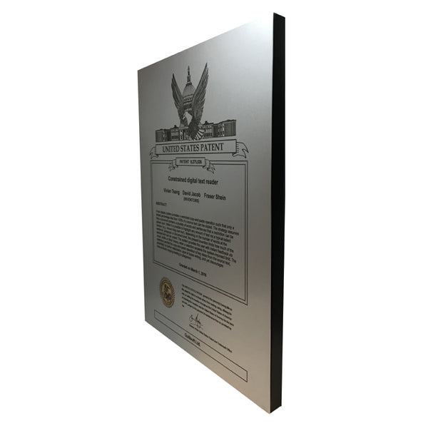 USA Patent Plaque - Brushed Steel Look (A3154) - Quest Awards