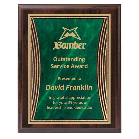 Plaque - Tribute Series Green Marble Plate with Gold Engraving (A2924) - Quest Awards