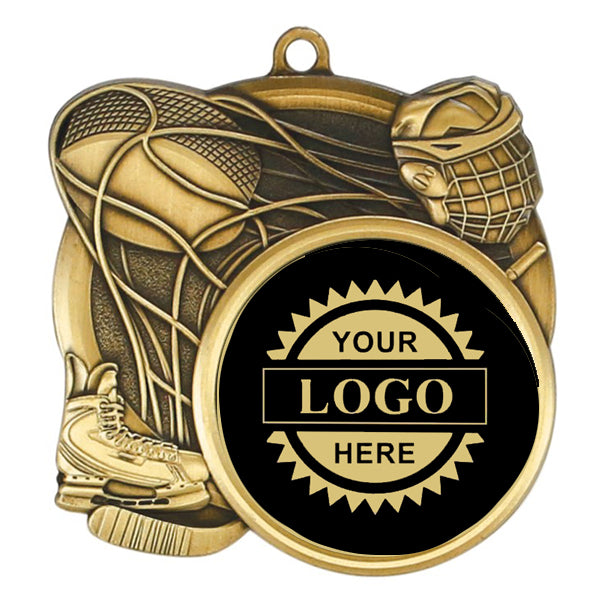 "Logo Insert Medallion - Hockey 2 3/4"" - Black with Gold Engraving (A3532) - Quest Awards"