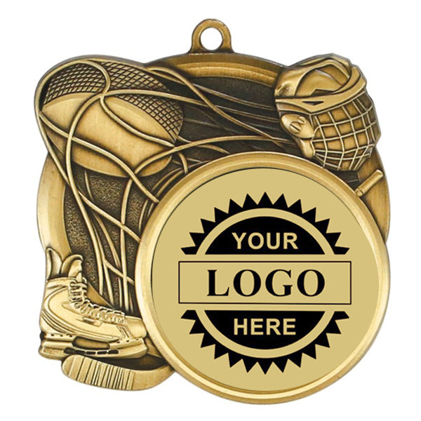 "Logo Insert Medallion - Hockey 2 3/4"" - Gold with Black Engraving (A3531) - Quest Awards"