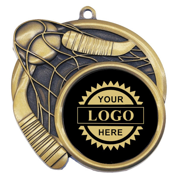 "Logo Insert Medallion - Ball Hockey 2 1/2"" - Black with Gold Engraving (A3536) - Quest Awards"