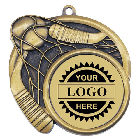 "Logo Insert Medallion - Ball Hockey 2 3/4"" - Gold with Black Engraving (A3535) - Quest Awards"