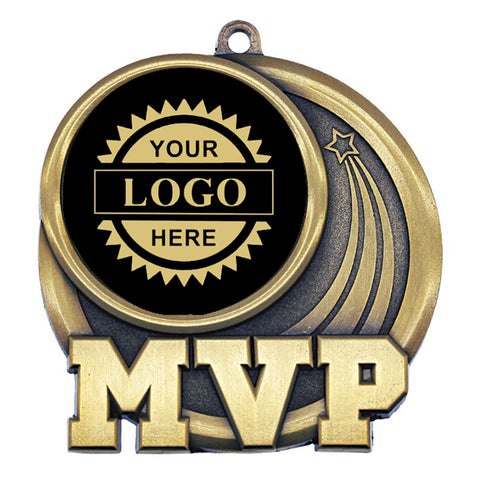"Logo Insert Medallion - MVP 2 1/2"" - Black with Gold Engraving (A3540) - Quest Awards"