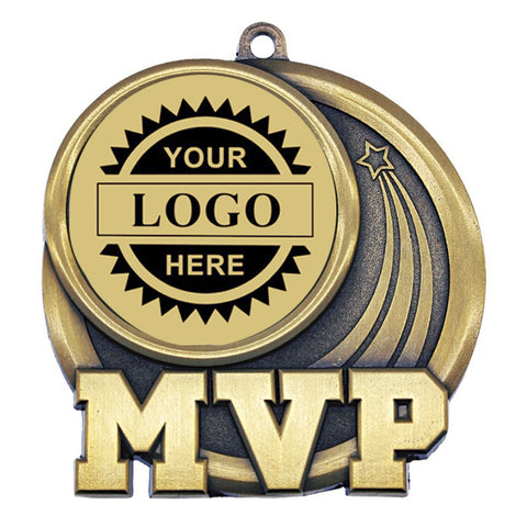 "Logo Insert Medallion - MVP 2 1/2"" - Gold with Black Engraving (A3539) - Quest Awards"