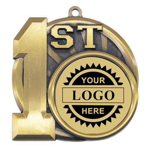 "Logo Insert Medallion - 1st Place 2 1/2"" - Gold w/Black Engraving (A3541) - Quest Awards"