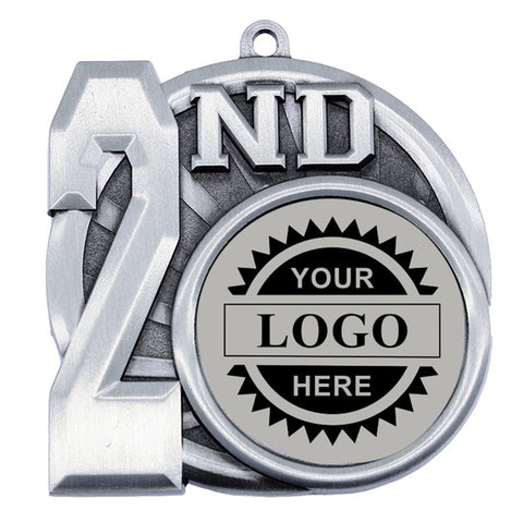 "Logo Insert Medallion - 2nd Place 2 1/2"" - Silver w/ Black Engraving (A3543) - Quest Awards"