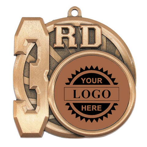 "Logo Insert Medallion - 3rd Place 2 1/2"" - Bronze w/ Black Engraving (A3544) - Quest Awards"