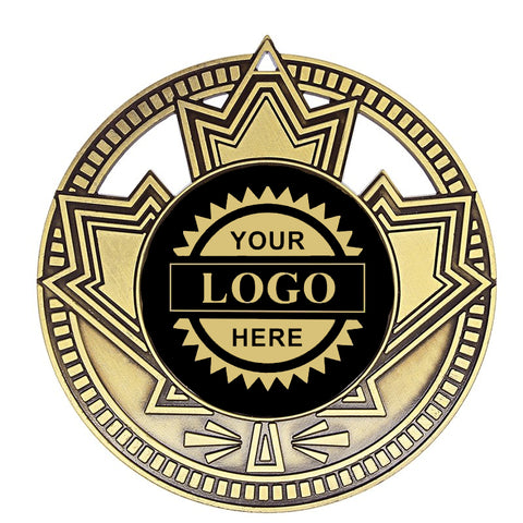 "Logo Insert Medallion Patriot 2 3/4"" Diameter - Black with Gold Engraving (A3530) - Quest Awards"