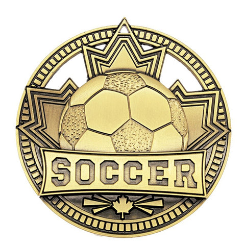 "Soccer Medallion Patriot Sport 2 3/4"" Diameter - Gold (A3561) - Quest Awards"