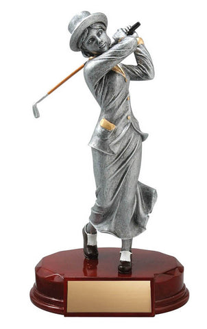 Golf Trophy - Old Fashioned Female Golfer - Quest Awards