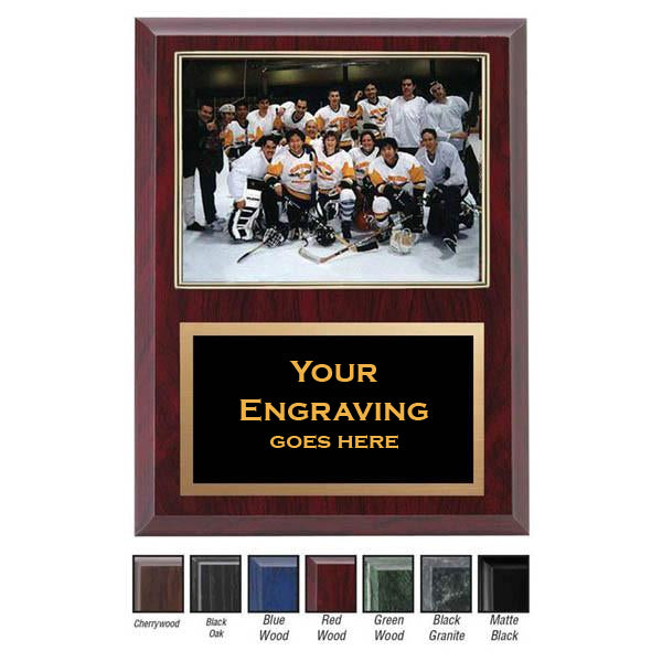 "Photo Plaque - Laminate Photo Plaque 9"" x 12"" with Gold Frame (A2884) - Quest Awards"