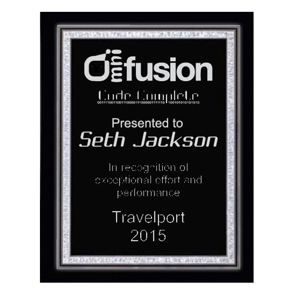 Piano Finish Plaques - Black with Silver Florentine Plate (A2890) - Quest Awards