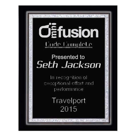 Piano Finish Plaques - Black with Silver Florentine Plate - Quest Awards
